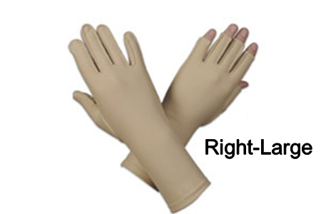 Edema glove, 3/4 finger, over wrist, Right, large - 9