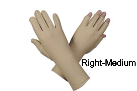Edema glove, 3/4 finger, over wrist, Right, medium - 8