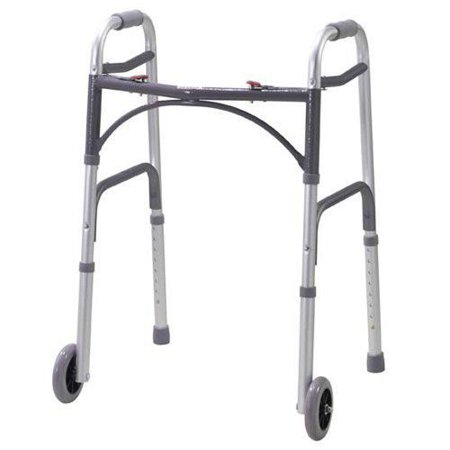 Adult Two Button Deluxe Folding Walker with 5