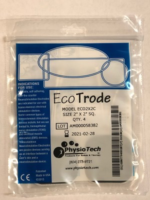 "EcoTrode 2"" x 2"" Square E-Stim Electrodes - INDIVIDUAL PACK of 4 Electrodes"